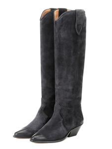 Stivali alti a punta pelle Stivali al ginocchio Stivali tacco largo Grigio scuro  6cm monocolore Autunno Inverno facile da indossare casuale