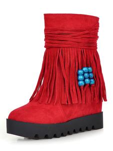 """Stivali da donna in Boemia Stivali scamosciati con punta tonda 3.1 """"Stivali invernali con tacco a zeppa con nappa"""