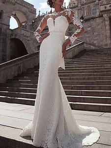 Abito da sposa in pizzo illusione collo maniche lunghe sirena abiti da sposa con strascico