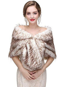 Faux Fur Wrap Wedding Bridal Shawl Stole