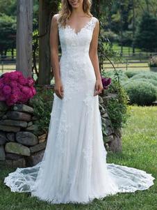 Vestido de noiva com decote em v sem mangas bainha até o chão vestido de noiva com trem tribunal