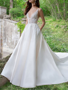 Vestido de novia vintage sin mangas con cuello en V una línea de encaje satinado vestidos de novia con tren