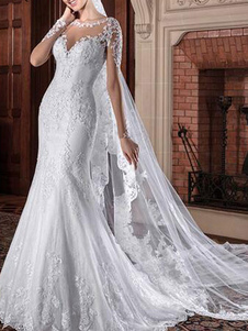 Abiti da sposa gioiello collo maniche lunghe vita naturale pizzo corte treno abiti da sposa
