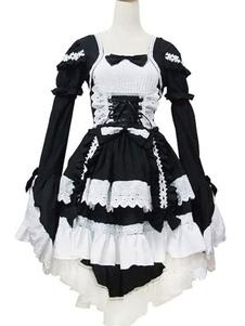 Lolita clássico vestido OP babados pretos mangas compridas Lolita vestidos de uma peça