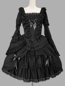 OP لوليتا الكلاسيكية اللباس الأسود الكشكشة لوليتا فساتين قطعة واحدة