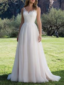 Свадебное платье с V-образным вырезом без рукавов и кружевными свадебными платьями на пляжной вечеринке с шлейфом