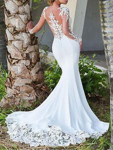 Vestidos de novia Cuello joya Mangas largas Encaje Sirena Vestidos de novia con vestido