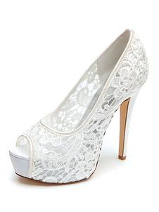 أحذية الزفاف الدانتيل الأبيض زقزقة اصبع القدم خنجر كعب منصة أحذية الزفاف
