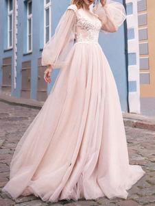 Свадебное платье с V-образным вырезом с длинными рукавами и кружевами из бисера Винтажное свадебное платье