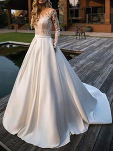Vestido de novia Princesa Silueta Joya Cuello Mangas largas Cintura natural Encaje Satén Tela Vestidos de novia