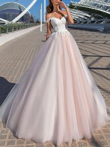 Vestido de novia Princess Silhouette Court Train Fuera del hombro Sin mangas Cintura natural Encaje Tul Vestidos de novia