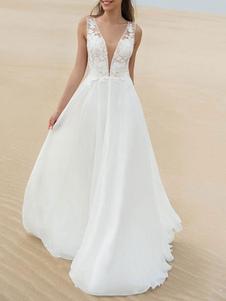 Vestidos de novia sencillos de línea A Vestidos de novia Marfil Boda sin mangas cintura natural de encaje de chifón con cuello en V Sin espalda