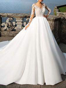 الكرة ثوب ثوب الزفاف الأميرة خيال جوهرة عنق طويل الأكمام الخصر الطبيعية أثواب الزفاف مع قطار