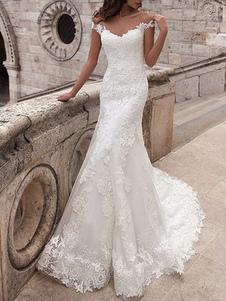 Abiti da sposa con spalle scoperte maniche corte in pizzo abiti da sposa a sirena con strascico