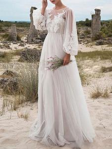 Простое свадебное платье A-Line Тюль с длинным рукавом и кружевами Свадебные платья