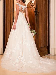 Vestidos de casamento A Linha V Neck mangas Lace Illusion Back Vestidos de noiva