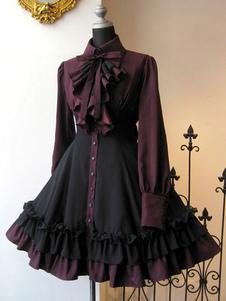 القوطي لوليتا اللباس OP أسود أحمر الكشكشة لوليتا فساتين قطعة واحدة