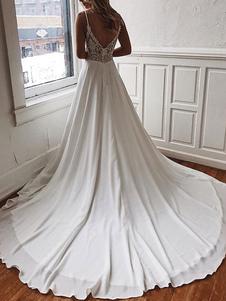 Vestidos de novia sencillos de línea A sin mangas Vestidos de novia Marfil con cuello en V cintura natural de encaje de elastano de marca LYCRA