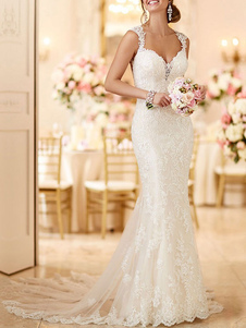 Vestidos de noiva casamento Mermaid Queen Annie Neck mangas Lace vestidos de noiva