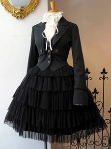 القوطية لوليتا المعاطف الحلقات السوداء المعطف القطن مزيج الربيع لوليتا يبلي