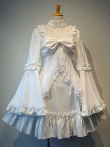 Lolita gótico OP vestido blanco de volantes Lolita Vestidos de una pieza
