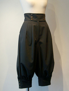 Gothic Lolita Pant Grommets preto colheu Lolita Calças