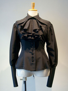 Camisa gótica de Lolita blusas de manga larga Negro Lolita Volantes Top Lolita