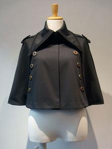 Mezcla Gothic Lolita Negro Poncho de algodón Lolita ropa exterior Grommets