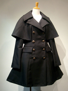 Lolita gótico abrigos negros ojales Mezcla de algodón Lolita otoño ropa exterior