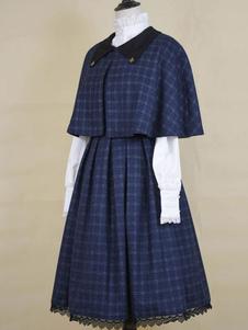 Clásico Lolita Cape Blue Sintético Otoño Lolita Outwear