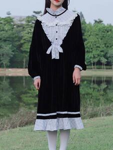 Сладкое платье Лолиты ОП Черные оборки Лолита Цельные платья