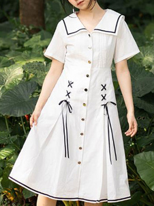Сладкое платье Лолиты ОП Белое платье на шнуровке Лолита One Piece