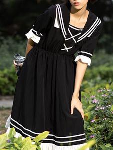Sweet Lolita OP Dress Black Ruffles Lolita Vestidos de una pieza