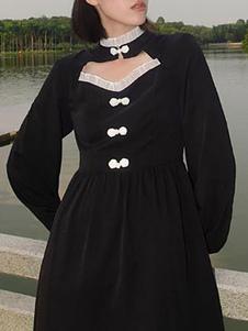 Estilo chinês Lolita OP vestido preto babados Lolita vestidos de uma peça