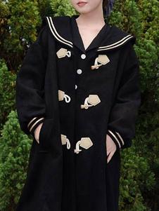 Abrigos Sweet Lolita Abrigo negro Ropa de invierno sintética Lolita Outwears