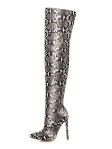 """Женские сапоги с острым носом с принтом змеи 4.7 """"Высокие сапоги на шпильках"""