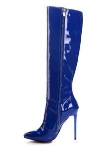 """Stivali al ginocchio da donna in pelle verniciata blu punta a punta tacco a spillo stivali invernali 4.3 """""""