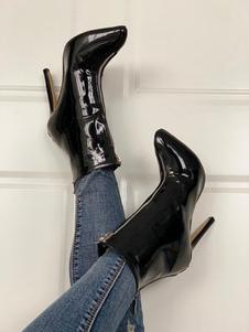 "Mulheres Ankle Boots Couro envernizado Preto Toe Stiletto Heel 4.3 ""Booties"