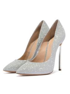 Женщины туфли на высоком каблуке ну вечеринку обувь серебро острым носом вечерние туфли