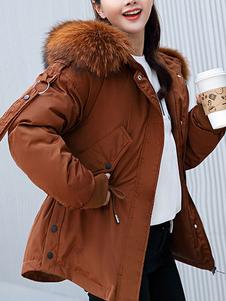 Baiacu Ecru Branco Preservação de calor Botões com capuz Zipper Mangas compridas Casacos extragrandes