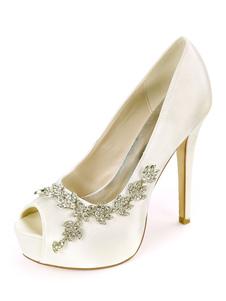 Zapatos de novia de satén 12.5cm Zapatos de Fiesta Zapatos marfil  de tacón de stiletto Zapatos de boda de punter Peep Toe con pedrería 2.5cm