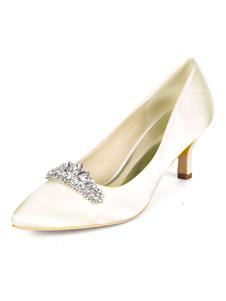 أحذية الزفاف منتصف منخفضة الكعب أشار تو مضخات هريرة كعب أحذية الزفاف