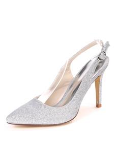 Womens Glitter Evening Shoes Slingback Sapatos de festa de salto alto Prateado