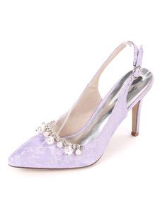 أحذية الزفاف Slingback في اللؤلؤ وأشار اصبع القدم خنجر كعب أحذية الزفاف