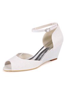 أحذية الزفاف بريق الترتر الأبيض زقزقة اصبع القدم إسفين كعب أحذية الزفاف