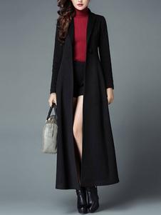 معطف الشتاء أزرار كي طوق عادية معطف أسود المتضخم للمرأة