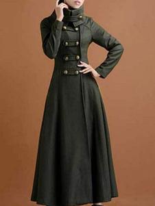 Зеленое пальто макси с высоким воротником Повседневная негабаритная верхняя одежда женщины охотника