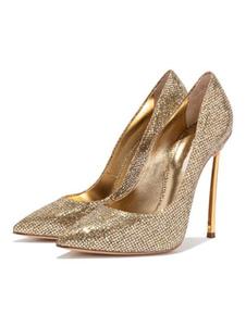 Décolleté da donna con tacco alto in oro e scarpe da sera con punta a punta
