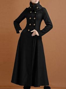 Черное зимнее пальто Стенд воротник с длинными рукавами Пуговицы Негабаритные Повседневная женская верхняя одежда