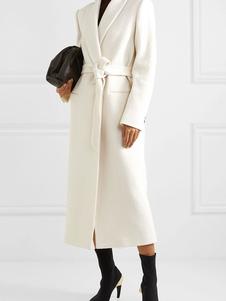 abrigo mujer blanco con manga larga de cuello vuelto Terciopelo de Corea Color liso con cordones de talla muy grande Normal estilo informal